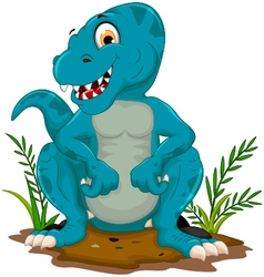 Funny tyrannosaurus cartoon posing vector