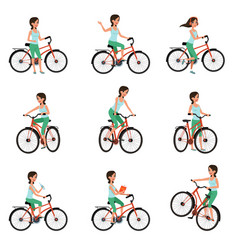 girl riding on bike set active lifestyle concept vector image