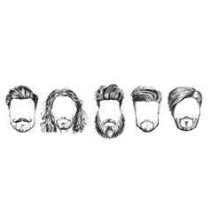 hair and beards fashion set vector image