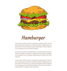 hamburger poster fast food vector image