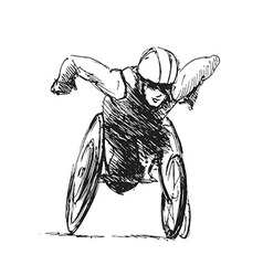 Hand sketch athletes in wheelchair vector
