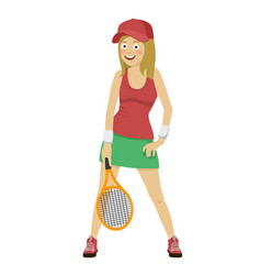 happy female tennis player posing with racket vector image