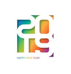 happy new year 2019 greeting card with carving vector image