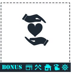 heart in hand icon flat vector image