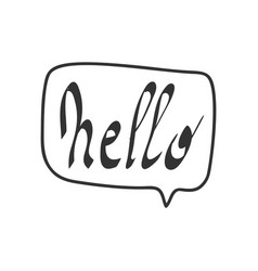 Hello quote message bubble calligraphic simple vector