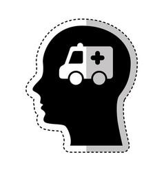 human profile with ambulance vector image