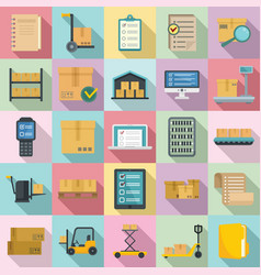 Inventory icons set flat style vector