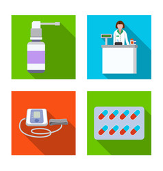 isolated object of pharmacy and hospital sign set vector image