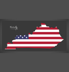 Kentucky map with american national flag vector