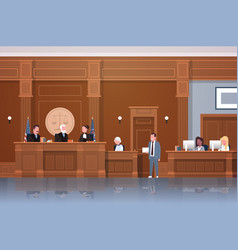 law process with judge secretary suspect and vector image