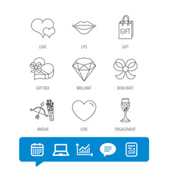 Love heart brilliant and engagement ring icons vector