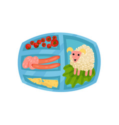 lunch box with food rice in shape of cute sheep vector image