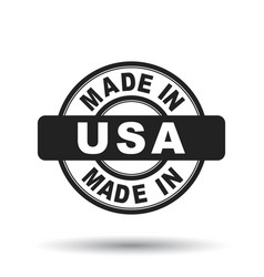 Made in usa america black stamp on white vector