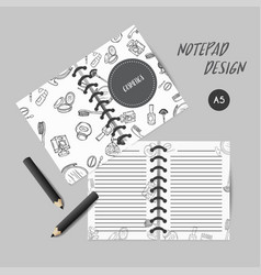 Make up products cover design for notebooks or vector