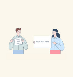 Man and woman holding white blank board cute vector