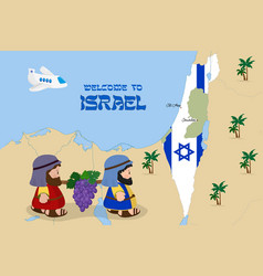 Map israel with two spies vector