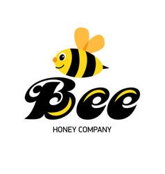 merry bee logo for honey producer company happy vector image