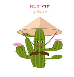 Mexican green cactus with pink flouwers hug m vector