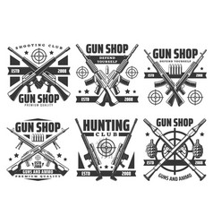 military weapon and guns ammunition shop vector image