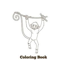 Monkey cartoon coloring book vector image