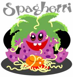 monster with spagetti vector image