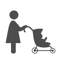 Mother with baby stroller pictograph flat icon vector