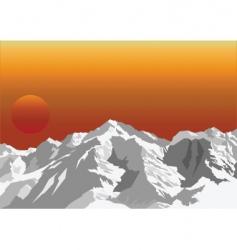Mountain sun rise vector