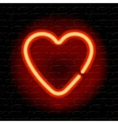 Neon heart on the brick wall vector