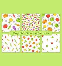 outline seamless vegetable background set vector image