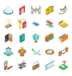 Pack isometric travel icons vector