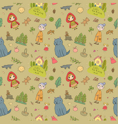 pattern with little red riding hood fairy tale vector image