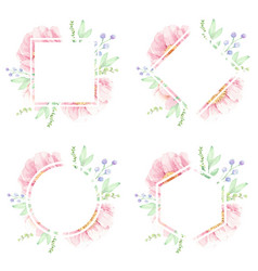 pink peony watercolor flower bouquet wreath frame vector image