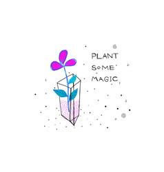 Plant some magic flower abstract dark sky card vector