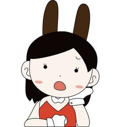 Pop cute pose cute bunny girl upper body vector