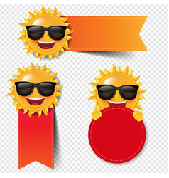 Red banner with sun isolated white background vector