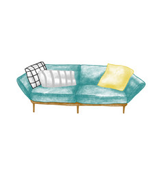 retro sofa hand drawn room vector image