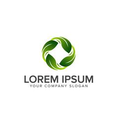 Round leaf logo natural logos concept design vector