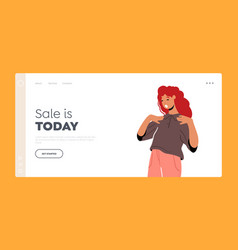 Sale today landing page template amazed excited vector