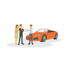Salesman are offer to customer about the car are vector