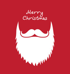 Santa claus beard and moustache white christmas vector