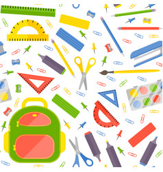 Seamless pattern with school stationery vector