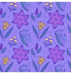 Seamless violet striped flowers vector