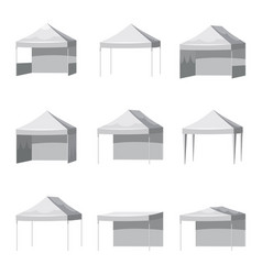 Set canopy shed overhang awning mockup set vector