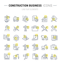 set line icons construction business vector image