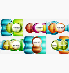 set of glass circle backgrounds vector image