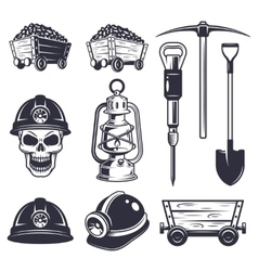 Set of vintage coal mining elements vector image