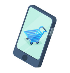 shopping cart phone screen icon isometric style vector image