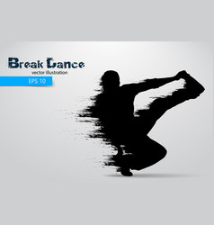 silhouette of a break dancer vector image