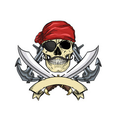 Sketch pirate skull vector
