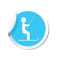 Ski lift icon round blue vector